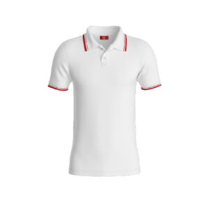 White Premium Performance DryFit Collar T-shirt With Red Tipping
