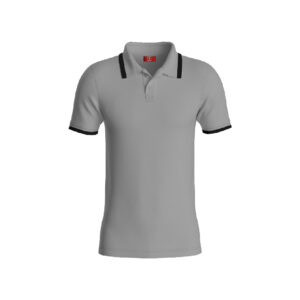 Grey Basic Pro Performance DryFit Collar T-shirt With Black Tipping