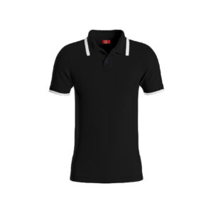 Black Basic Pro Performance DryFit Collar T-shirt With White Tipping