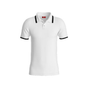 White Basic Pro Performance DryFit Collar T-shirt With Black Tipping
