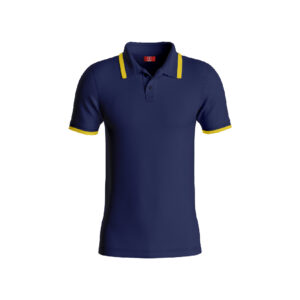 Navy Blue Basic Pro Performance DryFit Collar T-shirt With Yellow Tipping