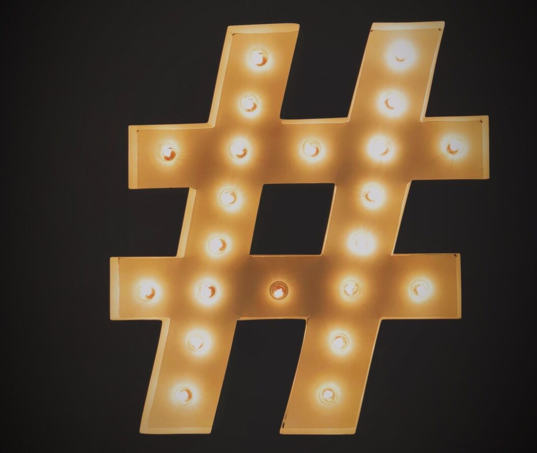 gold and lit hashtag icon