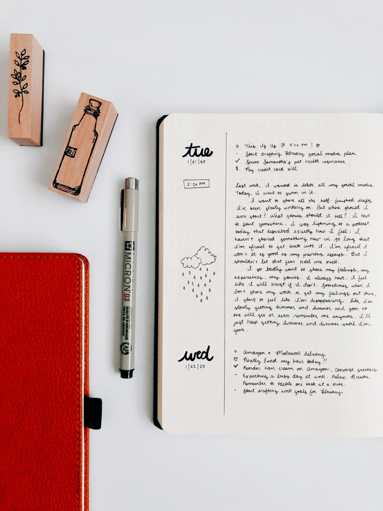 Minimal bullet journal - the rolling daily format