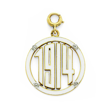 An Enamel, Diamond and Gold '1914' Charm Pendant, by Cartier, c.1914