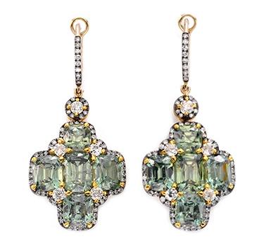 A Pair Of Demantoid Garnet And Diamond Ear Pendants