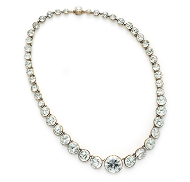 An Antique Aquamarine and Gold Riviere Necklace