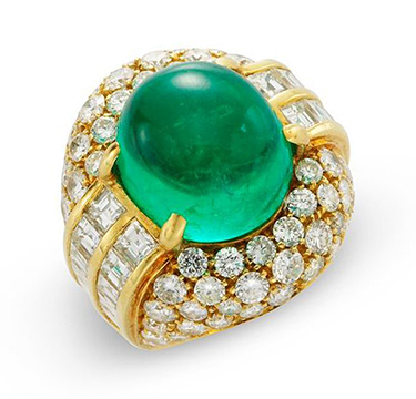 A Colombian Cabochon Emerald and Diamond Ring
