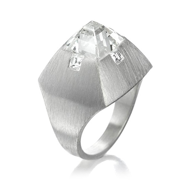 A Diamond and Brushed Platinum Ring, by Bhagat