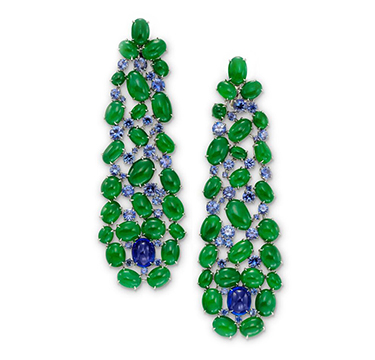 A Pair of Jade, Sapphire and Diamond Ear Pendants, by SABBA