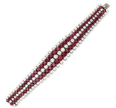 A Burmese Ruby And Diamond Strap Bracelet