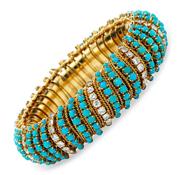 A Turquoise and Diamond Bracelet, by Van Cleef & Arpels, circa 1960