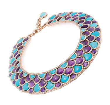 A Turquoise, Amethyst and Diamond 'Irene' Collar Necklace, by Bodino