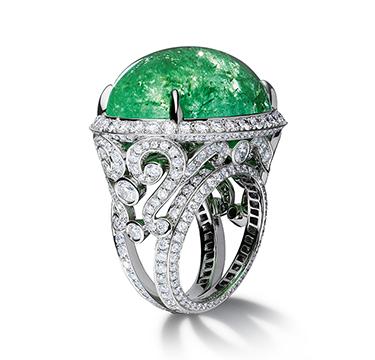 A Diamond and Paraiba Cabochon 'Angelica' Ring, by Bodino
