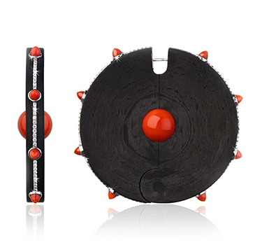 A Pair Carbon Fiber, Coral and and Diamond Ear Disks, by Fabio Salini