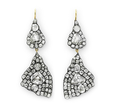 A Pair of Old Mine-cut Diamond Cluster Ear Pendants