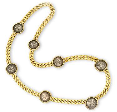 An Ancient Coin and Gold Sautoir Necklace, by Bulgari, circa 1985
