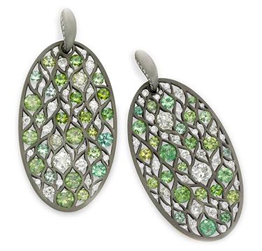 A Pair of Demantoid Garnet and Diamond Ear Pendants, by SABBA