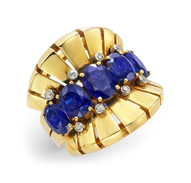 A Retro Sapphire and Diamond Ring, by Van Cleef & Arpels, circa 1945