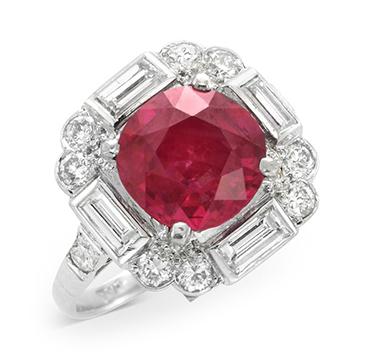 An Art Deco Burmese Ruby and Diamond Ring