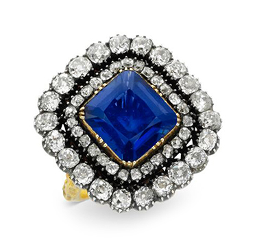 A Late 19th Century Square-cut Sapphire and Diamond Ring