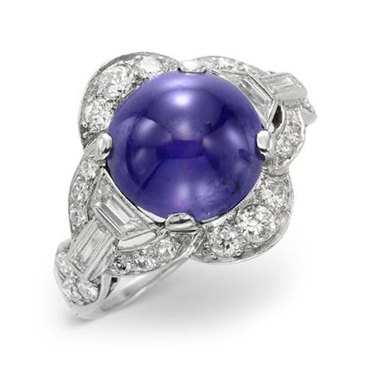 An Art Deco Color-change Purple Sapphire and Diamond Ring, circa 1925