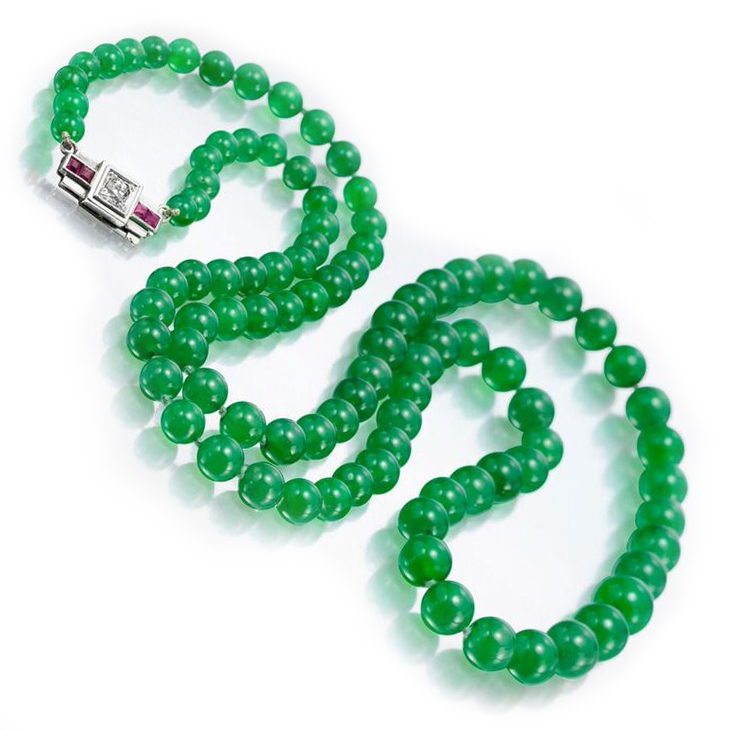 A Natural Burmese Jade Bead Single Strand Necklace
