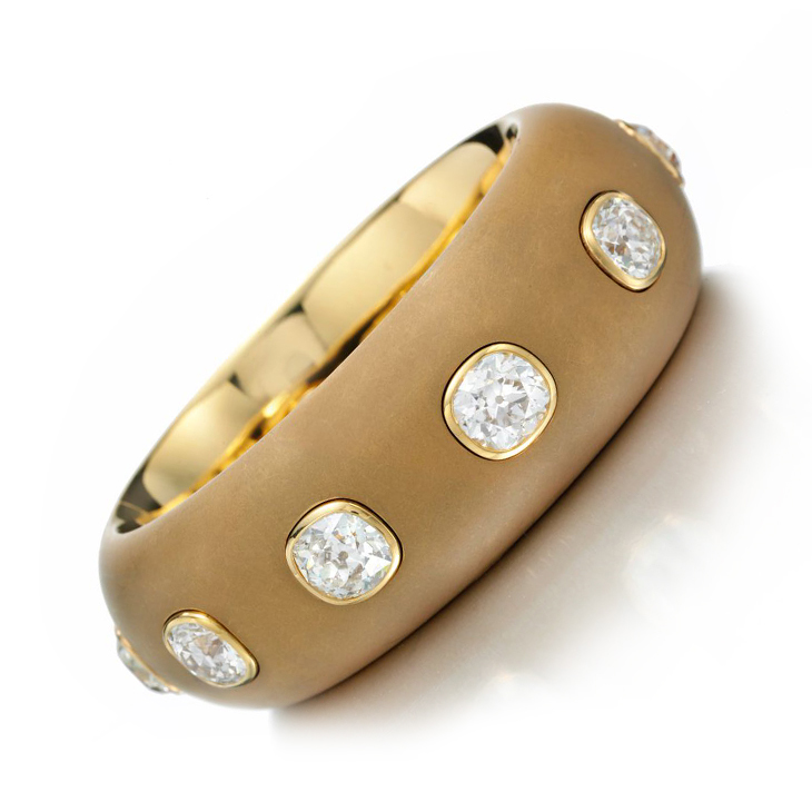 A Cushion-cut Diamond and Patinated Gold Bangle Bracelet, by Hemmerle