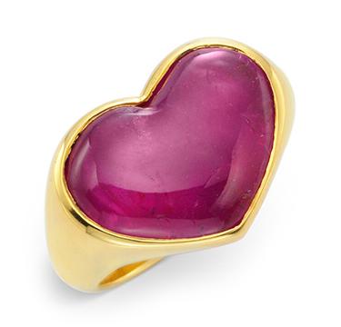 A Heart Shaped Cabochon Pink Sapphire Ring, by Bulgari, circa 1980