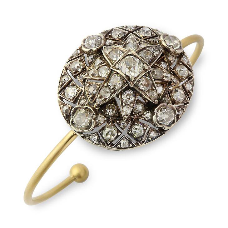 A Old European-cut Diamond Cluster Cuff Bracelet
