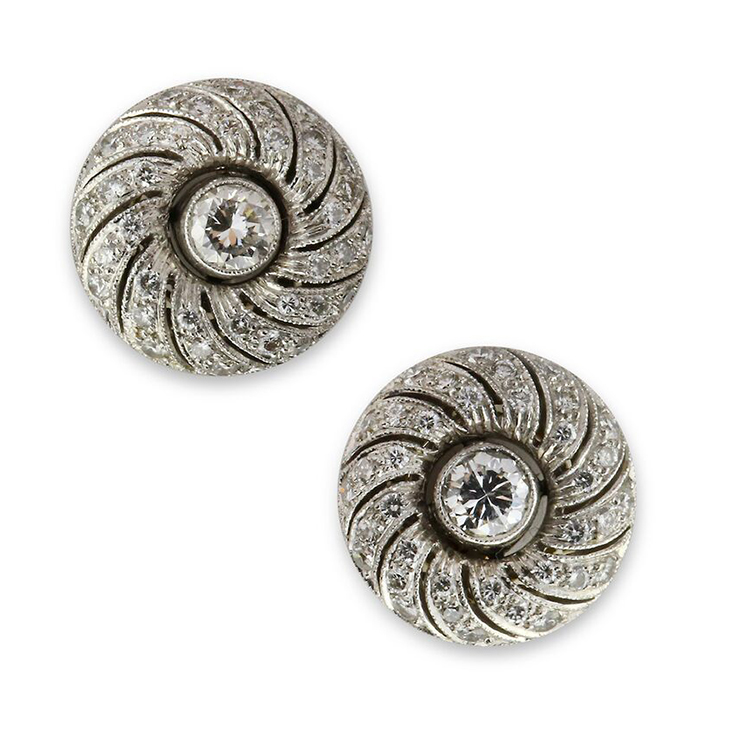 A Pair of Early 20th Century Diamond Spiral Stud Earrings, circa 1920