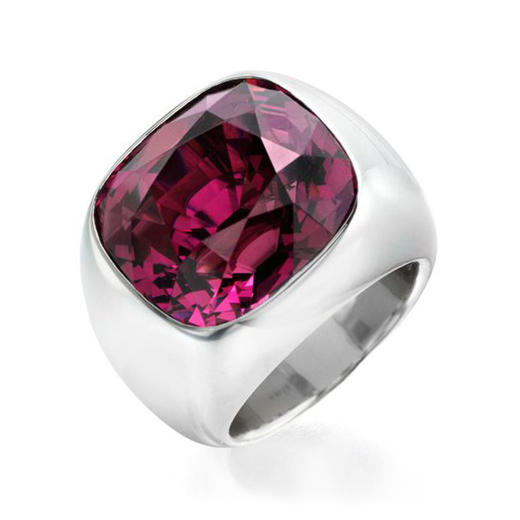 A Cushion-cut Spinel and Aluminum Ring, by Hemmerle