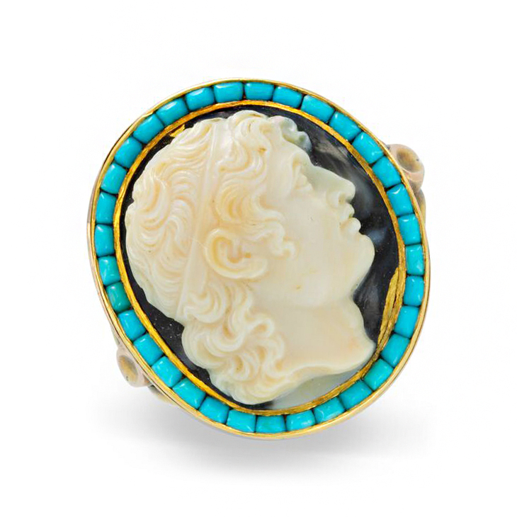 An Antique Cameo and Turquoise Ring