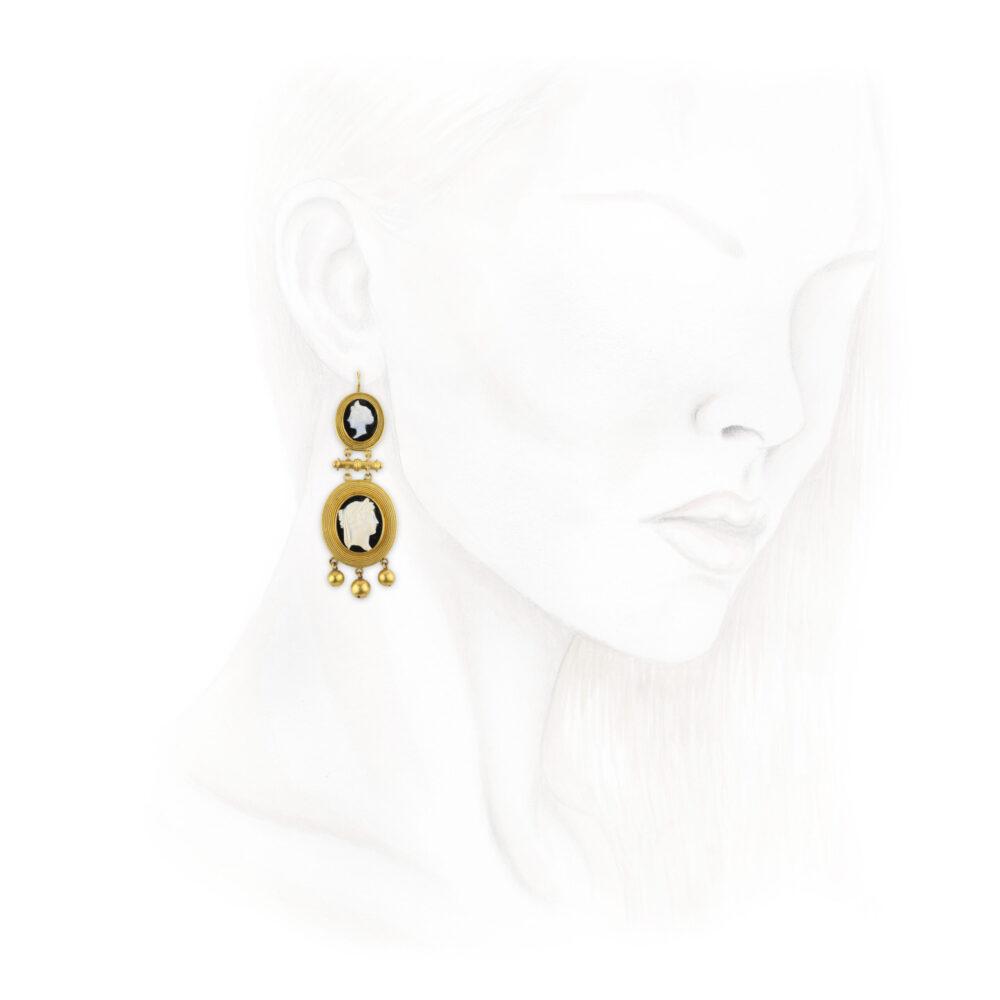 Shell Cameo Ear Pendants