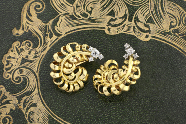 Cartier Diamond And Gold Ear Clips