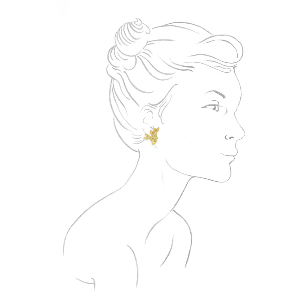 Sculpted Gold Snake Ear Clips