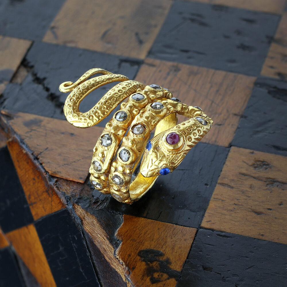 Multi-Gem Gold Snake Ring