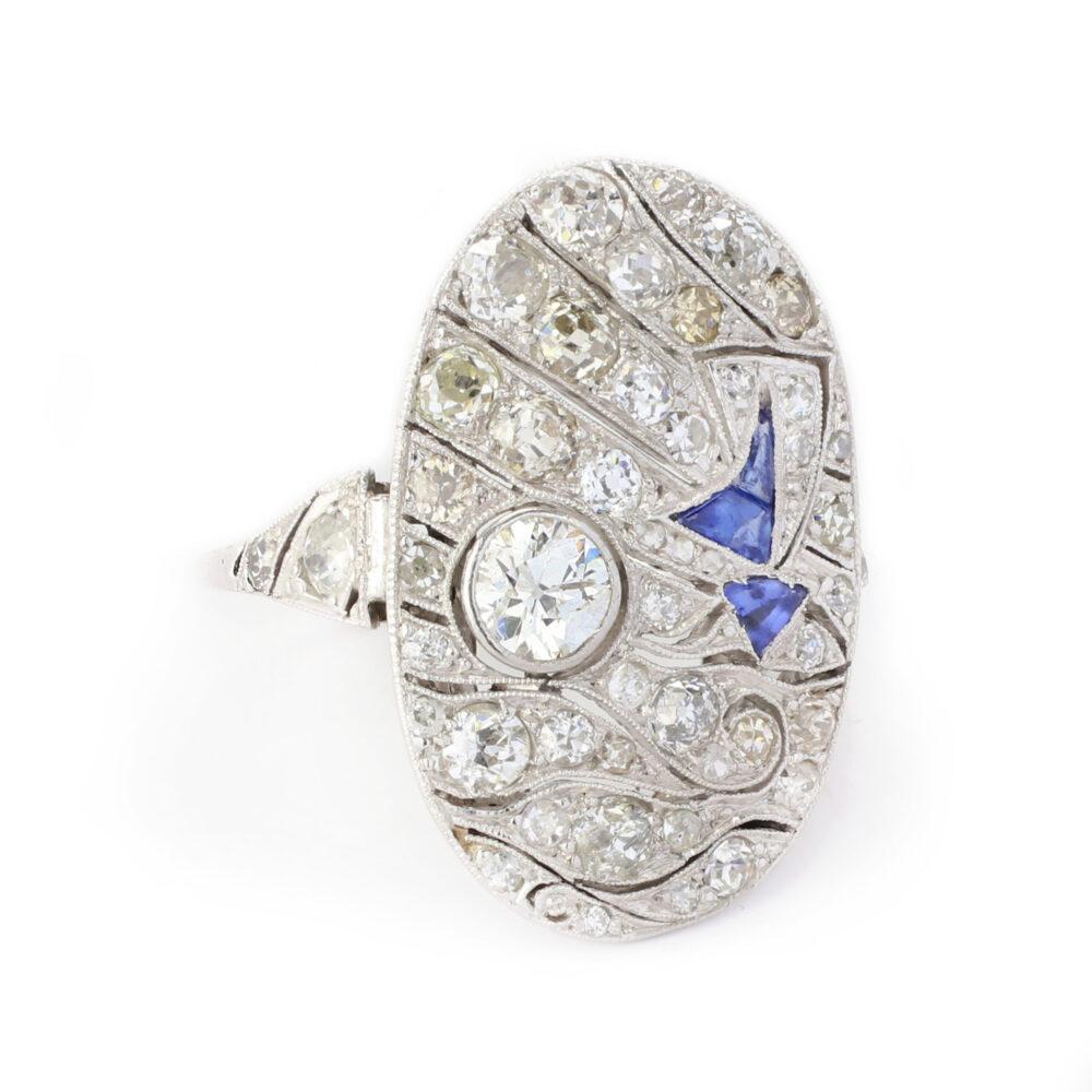 Art Deco Diamond and Sapphire Ring