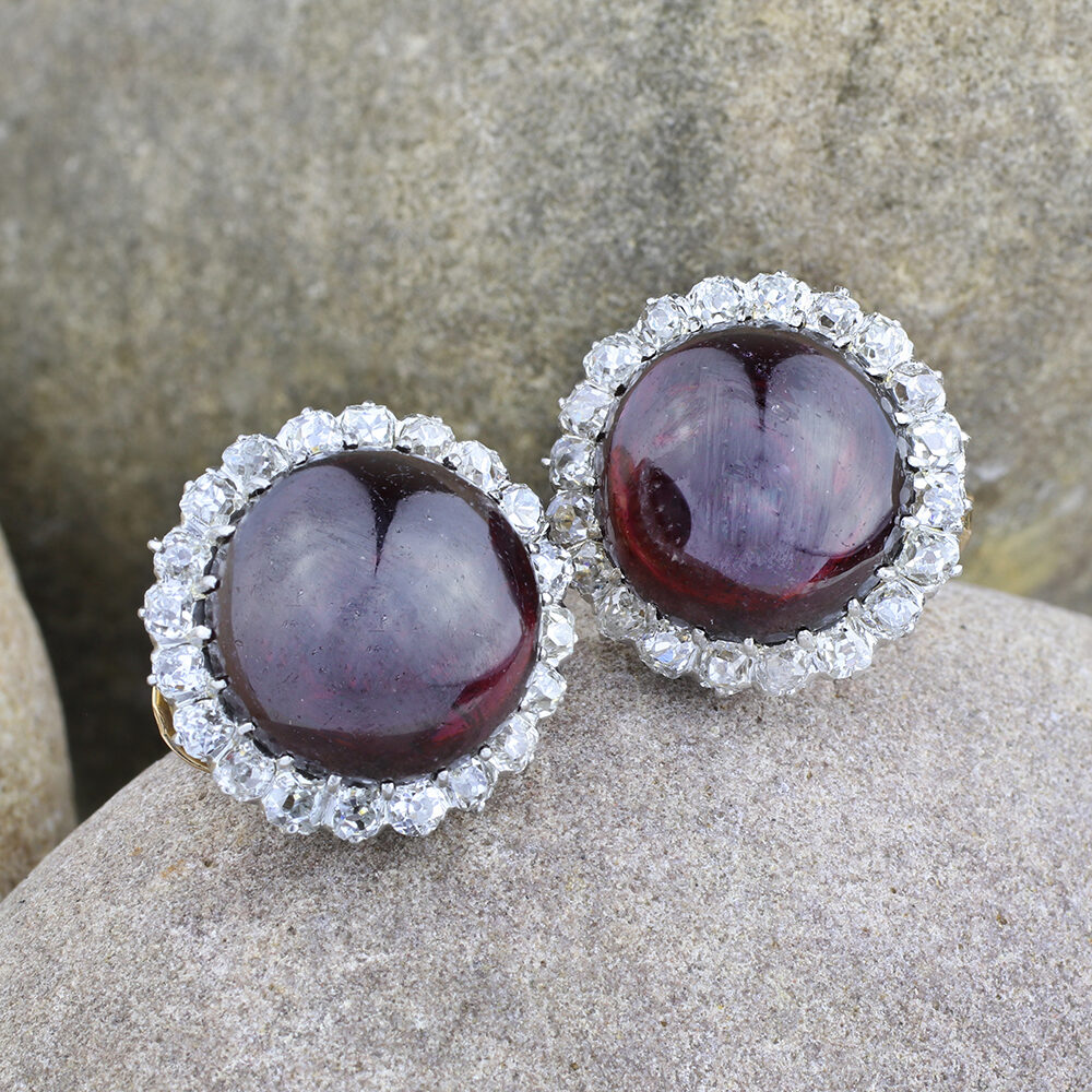 Antique Garnet and Diamond Earrings