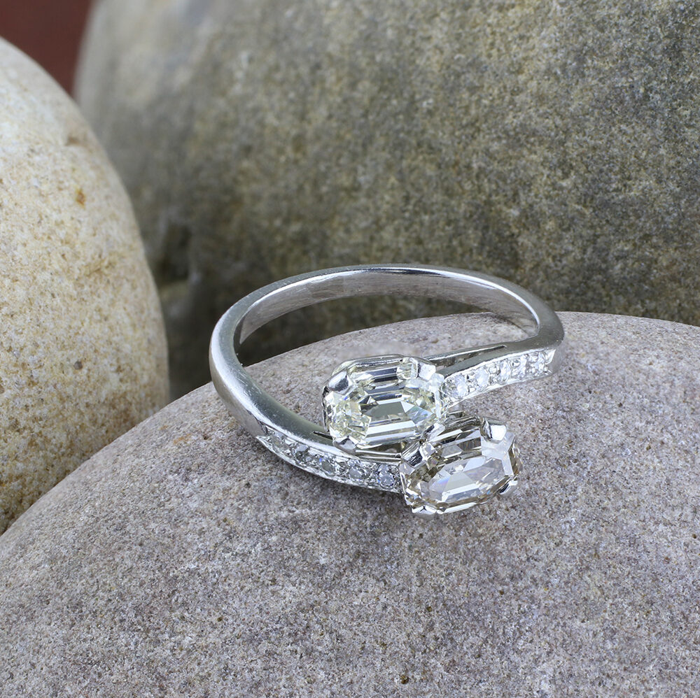 Diamond and Colored Diamond Crossover Ring