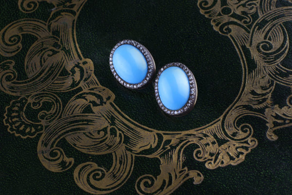 Ceramic And Diamond Earrings