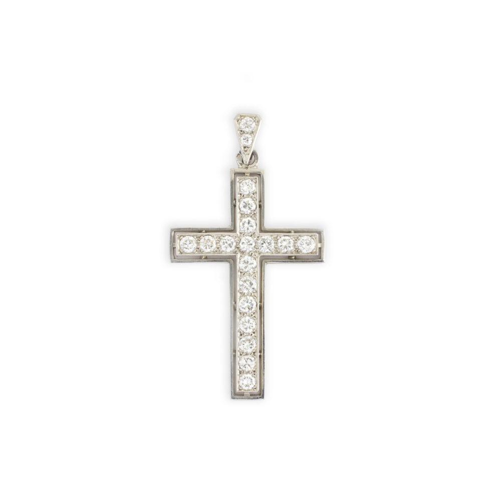 Diamond Set Platinum Cross Pendant