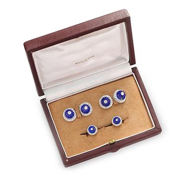 A Lapis Lazuli and Diamond Dress Set, by Bulgari