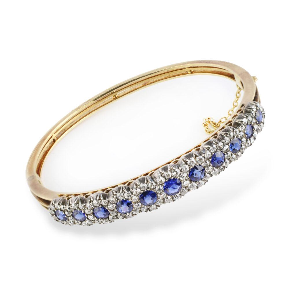 A Victorian Sapphire and Diamond Bangle Bracelet