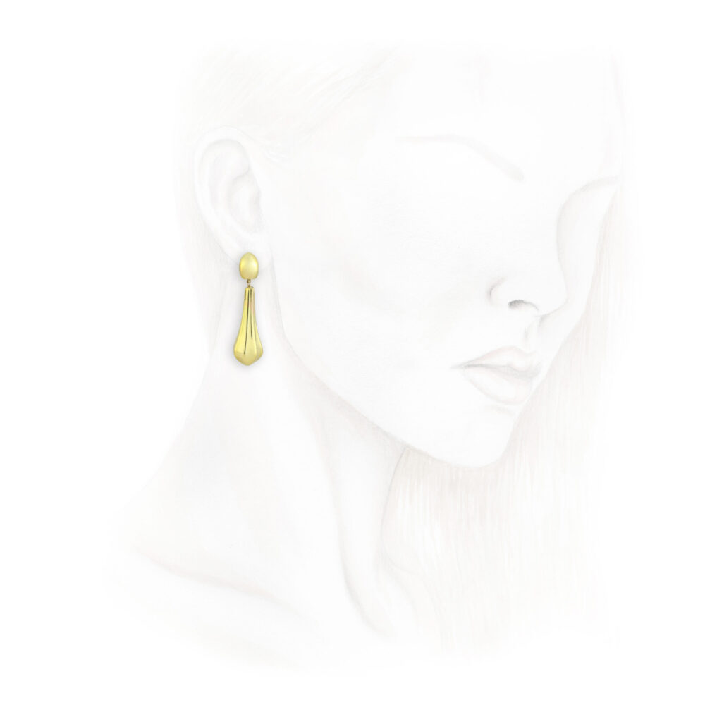 A Pair of Sculpted Gold Ear Pendants
