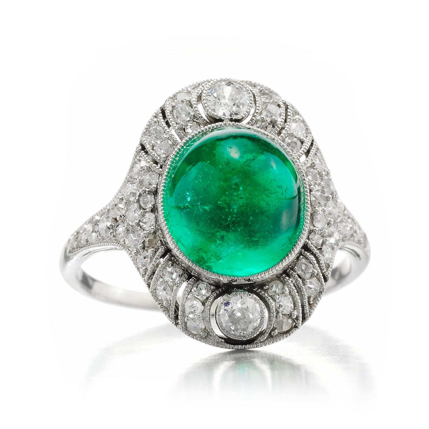 An Art Deco Cabochon Emerald and Diamond Ring