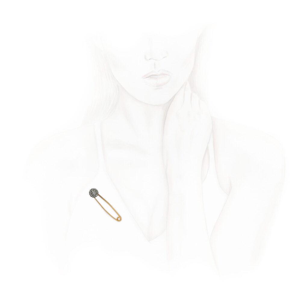 An Antique Diamond Set Spring Pin