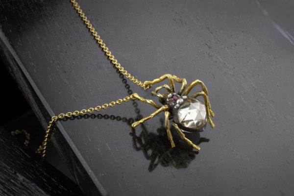 An Antique Rose-cut Diamond Spider Pendant