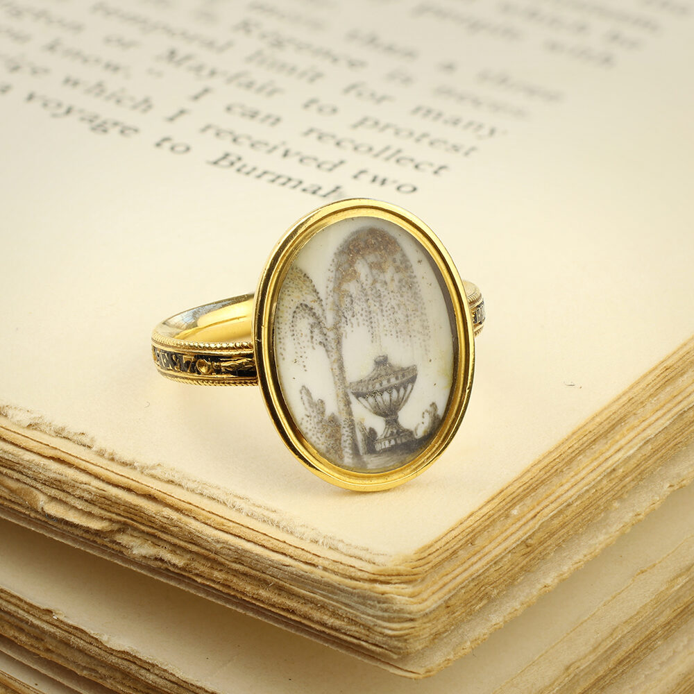 An Antique Memento Mori Enamel, Rock Crystal and Gold Ring
