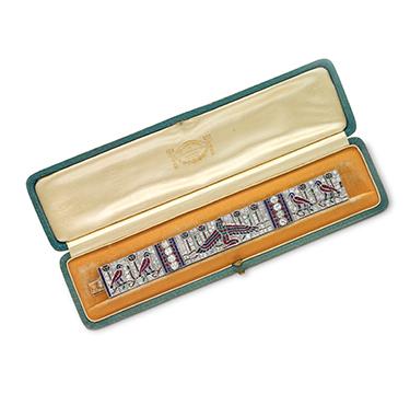 An Important Egyptian Revival Multi-gem and Diamond Bracelet, by Van Cleef & Arpels, circa 1925