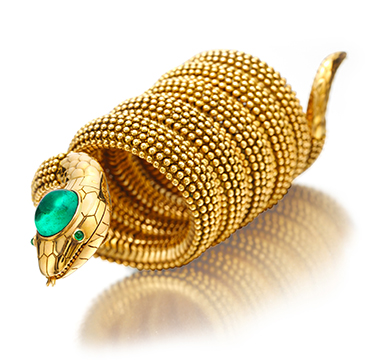 An Important Cabochon Emerald and Gold 'Serpenti' Watch Bracelet, by Bulgari